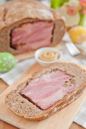 Traditional German Easter Bread filled with ham photo