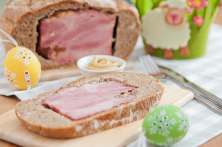 Traditional German Easter Bread filled with ham Stock Photo