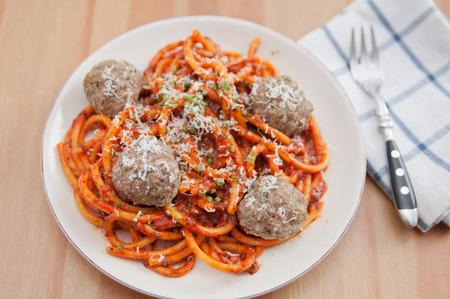 Spaghetti with meatballs photo