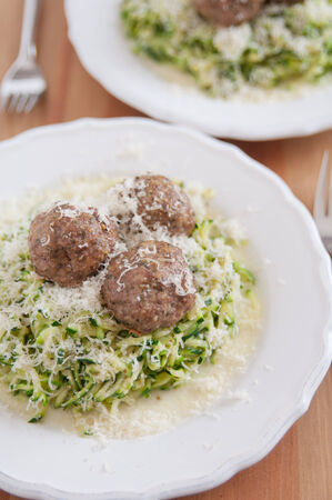 Zucchini Pasta Noodles with meatballs photo