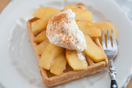 homestyle: Waffles with whipped cream and cinnamon apples