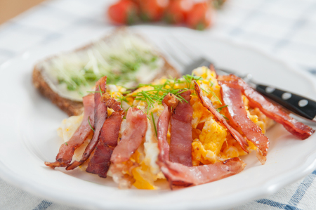Scrambles Eggs with bacon photo