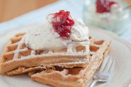 Waffles with jam photo
