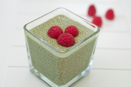 Matcha Chia Seeds Pudding with raspberry