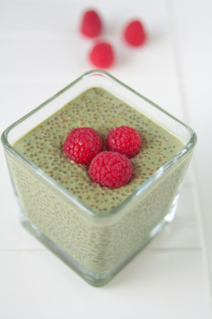 Matcha Chia Seeds Pudding with raspberry