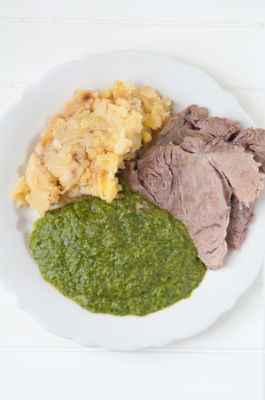 Prime boiled beef with spinach and potatoes, Viennese Tafelspitz photo