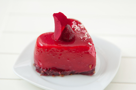 Heart Cake with Raspberries photo