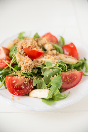 Salad with tomato and asparagus photo