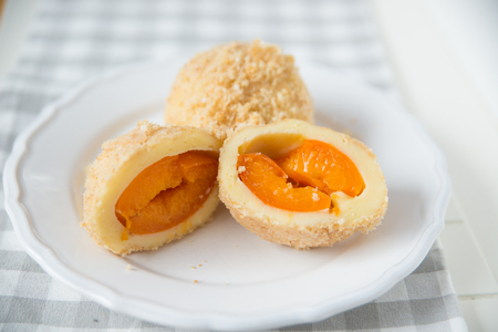 Sweet dumplings filled with apricot photo