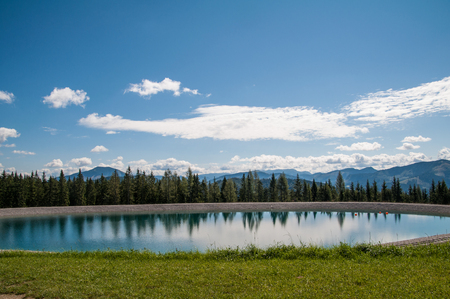 fuegen: Mountain Lake in Mariazell Stock Photo