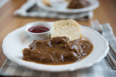 wine sauce: deer meat in wine sauce Stock Photo