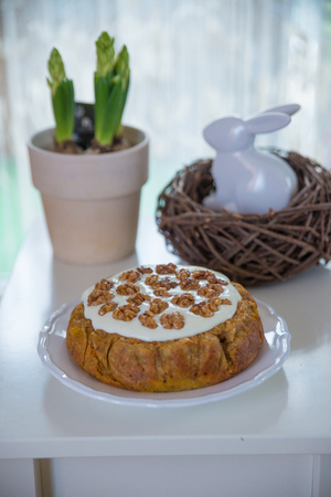 frosting': Carrot Cake with Whipped Frosting Stock Photo