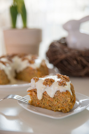carrot cake: Carrot Cake with Whipped Frosting Stock Photo