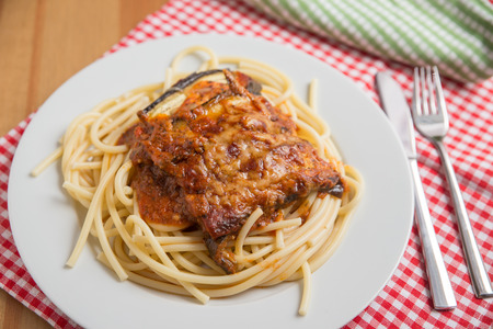 cousin: Spaghetti with baked eggplant