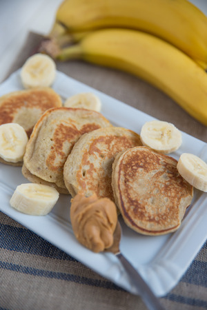 peanut butter: pancakes with banana and peanut butter