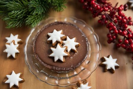 chocolate christmas: Chocolate Christmas Cake with cinnamon star cookies