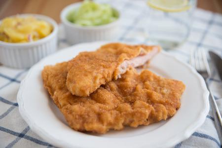 schnitzel: Wiener Schnitzel - fried pork chop Stock Photo