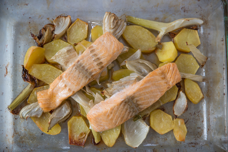 meat and alternatives: Salmon Stock Photo