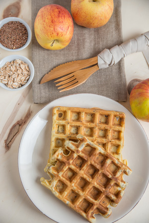 homestyle: Healthy apple waffles