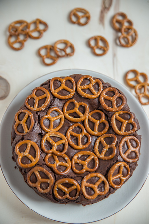 pretzel: Chocolate Cake with pretzel Stock Photo