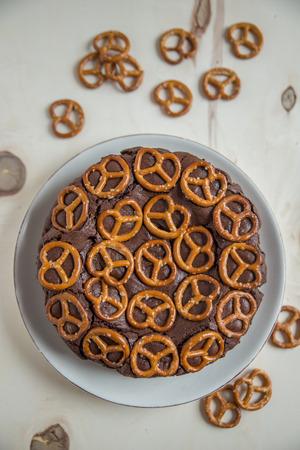pretzel: Chocolate Cake with pretzel Stock Photo