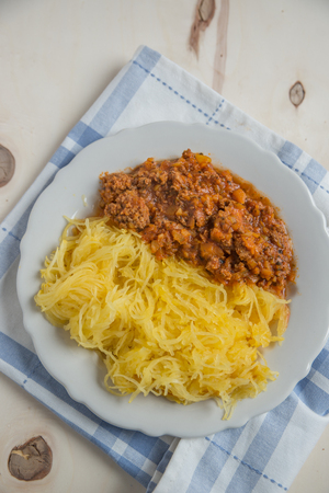 bolognese sauce: Cooked Spaghetti Squash Pasta with bolognese sauce