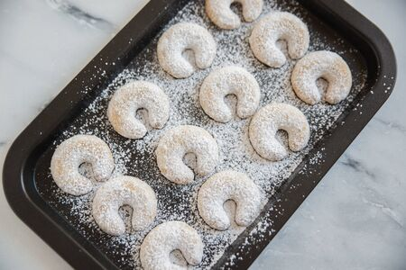 crescent shaped Christmas cookies Stock Photo