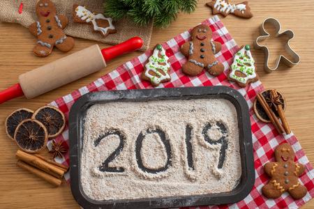 Gingerbread Cookies 2019 written on flour