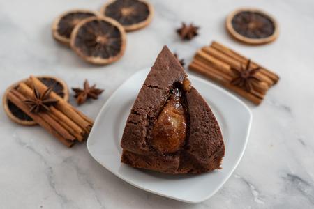 Chocolate cake with pears Standard-Bild - 111901537