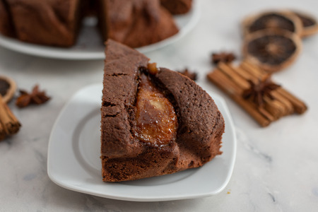 Chocolate cake with pears Standard-Bild - 111901782