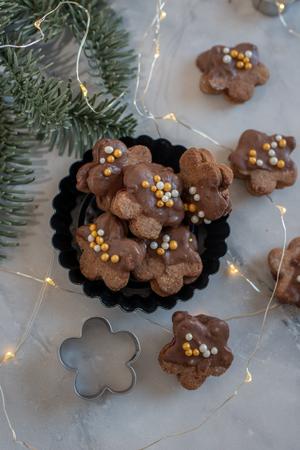 Chocolate Christmas cookies Standard-Bild - 113104043