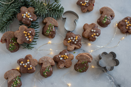 Chocolate Christmas cookies Standard-Bild - 113103885