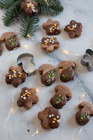 Chocolate Christmas cookies Standard-Bild - 113103897
