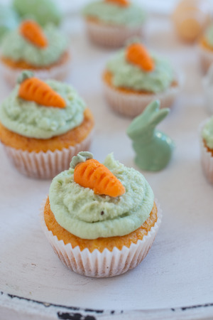 Carrot Hazelnut Muffins with marzipan carrots for easter