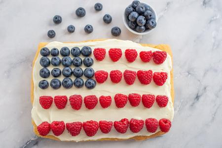 USA Flag Cake Stock Photo