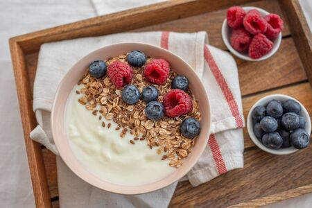 Healthy food background with homemade oatmeal granola