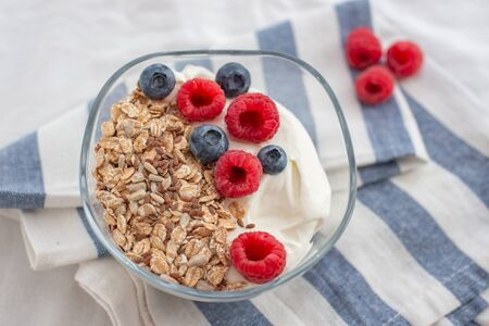Granola with yogurt and berries for healthy breakfast 免版税图像