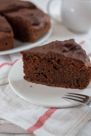 Home made chocolate beet root cake on a table