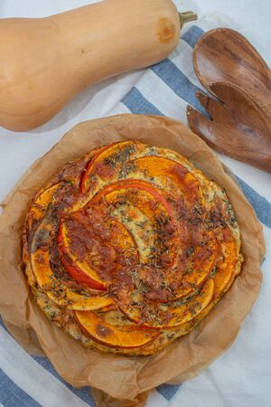 Home made pumpkin quiche