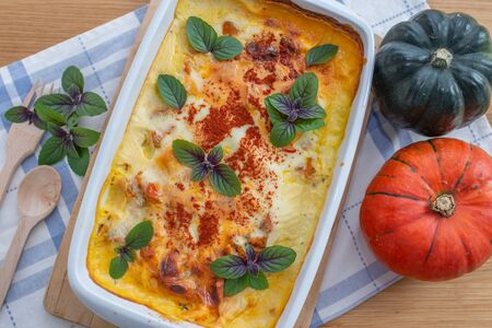 Lasagna with pumpkin and cheese Stockfoto