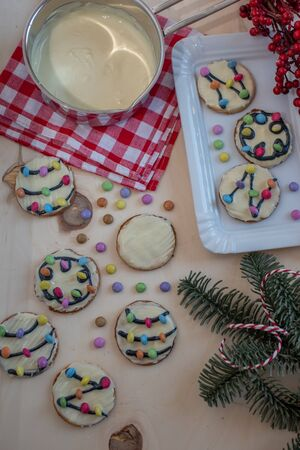 Traditional home made christmas lights cookies Imagens
