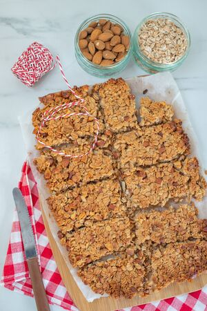 Home made healthy granola bars on a table