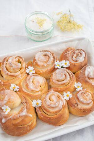 Sweet home made elderflower lemon cinnamon rolls