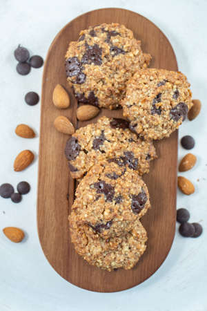 Home made healthy Almond chocolate chip vegan cookies