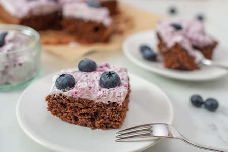 sweet home made chocolate brownie with blueberries