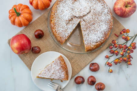 sweet home made apple pumpkin pie with almonds