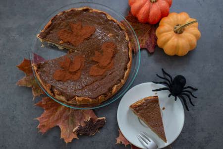 Delicious home made chocolate pumokin pie for halloween