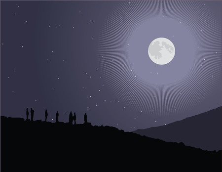 Vector illustration of a group of people watching the stars and full moon.