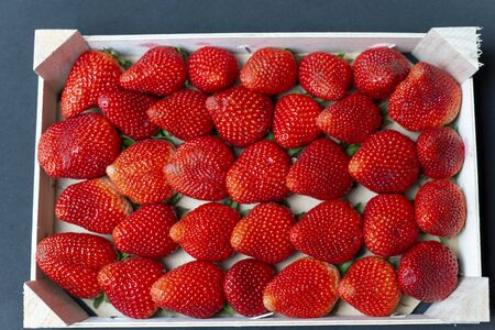 Strawberries from Huelva from the weekly market of Calldetenes near Vic, they look great