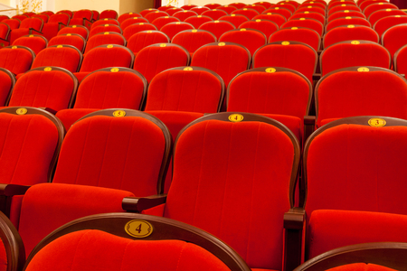 rows of red auditorium chairs in the theatre Stock Photo